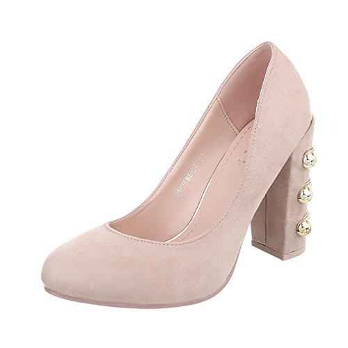 Ital-Design Women's Court Shoes Kitten Heel High Heels Beige Dd59p IhZh0nnMDa