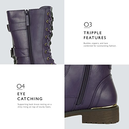 Buckle Knee Combat High Military Credit Boots Pocket Mid DailyShoes Purple Lace Shoes Card Metal Exclusive Women's Bootie Front Up 8nqIF