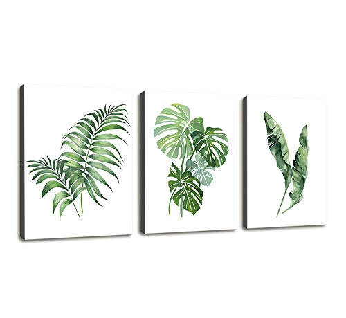 Green Leaf Photo - Canvas Wall Art for Bathroom Wall Decor Simple Green Leaf Canvas Prints Bedroom Wall Decor - 3 Panels Framed Wall Pictures Tropical Monstera Plant Banana Leaf Watercolor for Home Office Wall Decor
