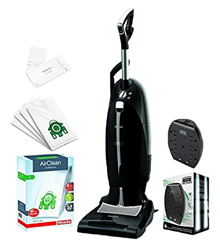 Miele Dynamic U1 Maverick Upright Vacuum, Obsidian Black - Corded, ReVIVE Rapid Dual USB 6 Outlet Wall AC Adapter, & 10123230 AirClean 3D Efficiency Dust Bag, Type U, 4 Bags & 2 Filters (Bundle)