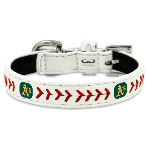 MLB Oakland Athletics Classic Leather Baseball Dog Collar (Medium)