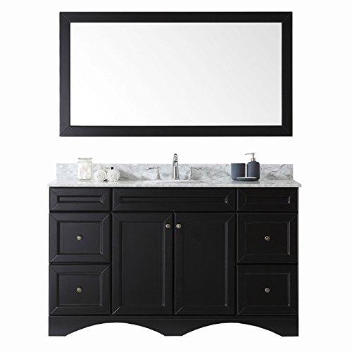 Virtu USA ES-25060-WMRO-ES-002 Talisa Single Bathroom Vanity with Marble Top/Round Sink with Polished Chrome Faucet/Mirror, 60