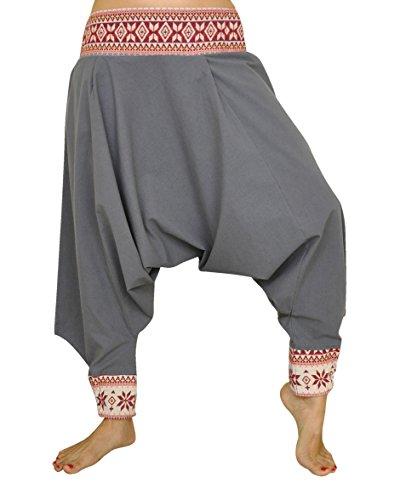 Pantalones cagados corte tradicional con decoración hermosa como ropa hippie y pantalones bombachos de virblatt S - L �?Begeisterung Gris