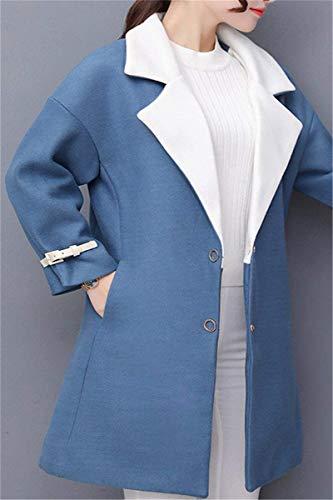 Hipster Invierno Solapa Bildfarbe Termica Mujer Largos Elegantes Chaqueta De Lana Manga Outwear Ropa Exteriores Abrigo Prendas Ocasional Larga Abrigos Anchas wHEXq7