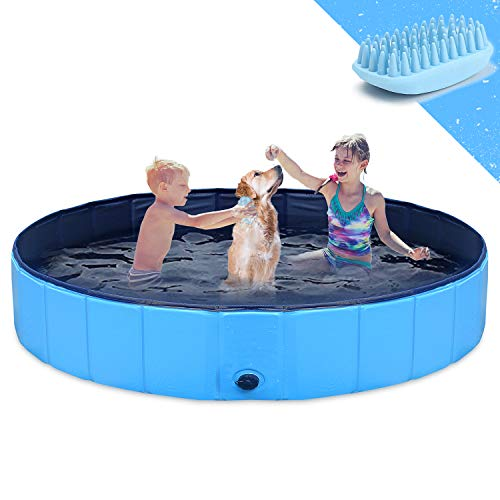 GoStock Dog Pool for Large Dogs, Folding Kiddie Pool, Portable Pet Pools for Dogs, Collapsible Swimming Pool for Kids