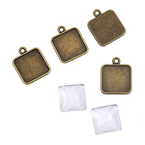 Monrocco 30 Sets 15mm Square Pendant Trays with Glass Cameo - Alloy Pendant Blanks Cameo Bezel Settings Photo Jewelry