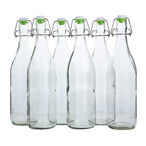 (Flip Top Glass Bottle [1 Liter / 33 fl. oz.] [Pack of 6] – Swing Top Brewing Bottle with Stopper for Beverages, Oil, Vinegar, Kombucha, Beer, Water, Soda, Kefir – Airtight Lid & Leak Proof Cap – Clear)