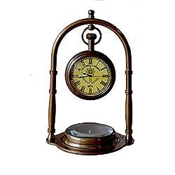 SA International Nautical Clock Ship Table Clock Brass Desk Clock Maritime Brass Compass with Antique Victoria London Pocket Watch