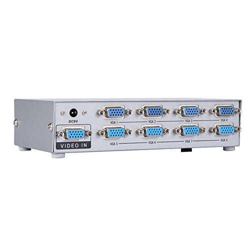 8 Way Vga Splitter (Eazy2hD 8-Port VGA Video Splitter Switch Box Sharing 1 PC to 8 Monitors Support Bandwidth at 150MHz (1 in 8 out) VS029)