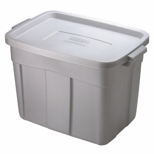 Rubbermaid FG2215CPSTEEL Roughneck Storage Tote Box, 18-Gallon, Steel, 12 Pack by Rubbermaid