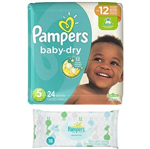 - Pampers Baby Dry Size 5 Disposable Diapers - 24 Count (3 Layers of Protection) + Sensitive Wipes Travel Pack 18 ct