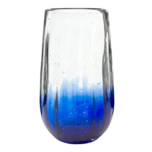 Amici Home, 7MCR068S6R, Rosa Hiball Drinking Glass, Translucent Cobalt Ombre, Recycled Handblown Artisanal Mexican Tabletop Glassware, 20 Ounce Capacity, Set of 6 by Amici Home