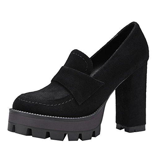 Carolbar Women's Casual Concise Block High Heel Platform Court Shoes Black OTtg1VIe8D