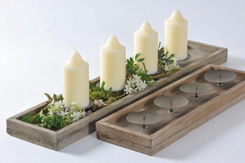 Kerzenständer mit Dorn, Kerzenleuchterschale Aura aus Fichte für 4 Kerzen, 1 Stück, ca. 53 cm x 17 cm x 6 cm