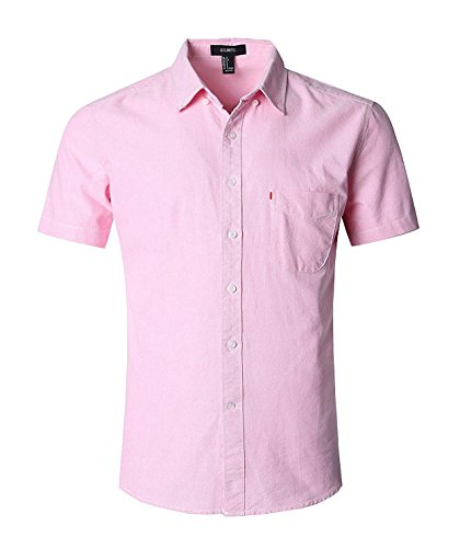GILBETI Men's Casual Dress Solid Short Sleeve Fitted Button Down Oxford Shirts (XXX-LARGE, pink)
