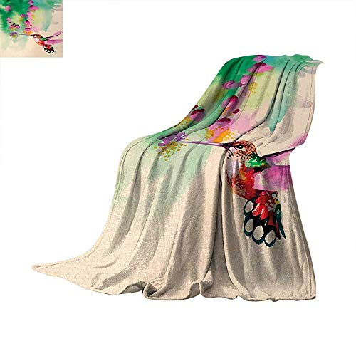 Quilt Art Flowers (Hummingbird Super Soft Lightweight Blanket Art with Colibri Bird and Flowers Romantic Springtime Tropics Nature Decor Summer Quilt Comforter 60