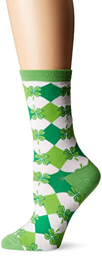 K. Bell Socks Women's Shamrock Argyle Crew, Green, Shoe Size (Leaf Green Cotton Spandex)