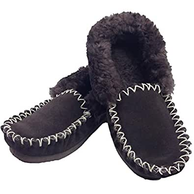 Boutique Retailer 100% Sheepskin Moccasins Slippers Winter Casual Genuine Slip On Size 4 to 13 New Chocolate Brown