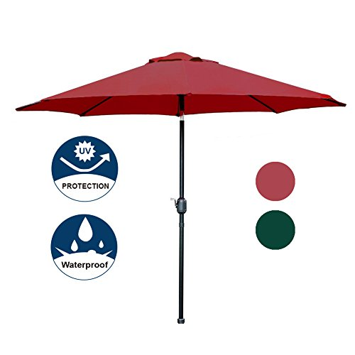 Blissun 9′ Patio Umbrella Aluminum Semi-auto Autotilt and Crank Garden Parasol (Red) Review