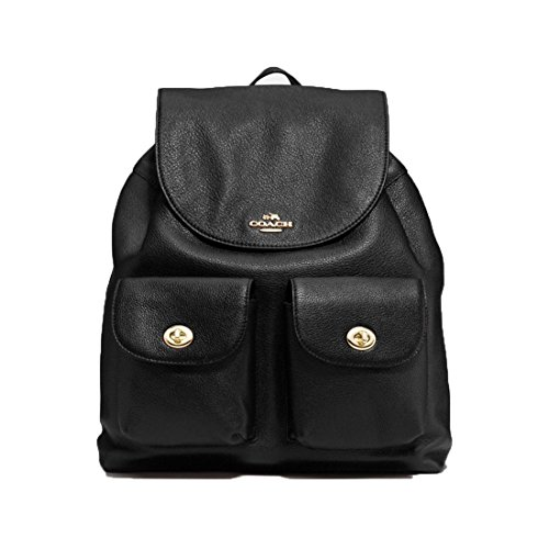 COACH F29008 Billie Pebble Leather Backpack Double Shoulder Bag Black