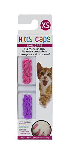 (Kitty Caps Kitty Caps Nail Caps for Cats   Safe & Stylish Alternative to Declawing   Stops Snags and Scratches, X-Small (Under 5 lbs), Hot Purple & Hot Pink)