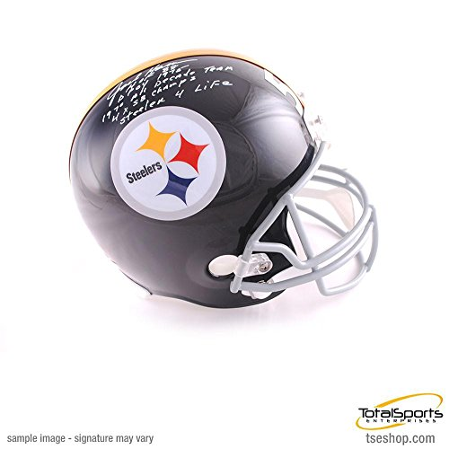 Helmet Pittsburgh Throwback Steelers (Total Sports Enterprises Jack Ham Autographed Full Size Replica Throwback Pittsburgh Steelers Helmet with 4 Inscriptions (with Steeler for Life))