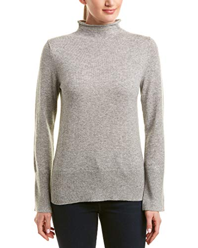 White + Warren Womens Wool & Cashmere-Blend Funnel Neck Pullover, S, Grey