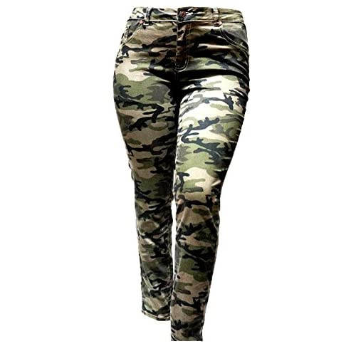 f68cb6a5181 free shipping IQ WOMENS PLUS SIZE Stretch Distressed Ripped Camo Camouflage  Skinny JEANS PANTS