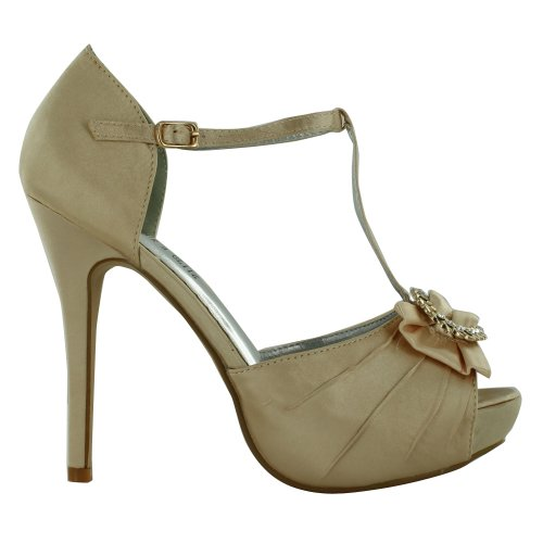 Footwear Sensation - punta abierta mujer marrón - Champagne