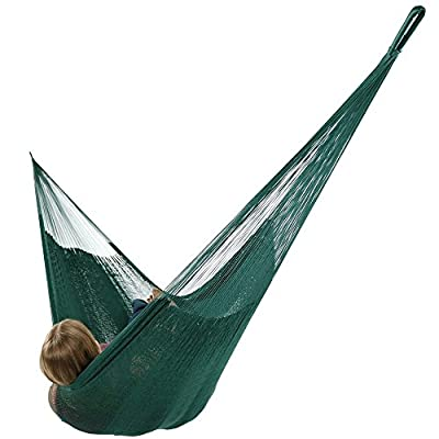 Sunnydaze Portable Mayan Hammock Hand-Woven, Family Size, 660 Pound Capacity, Green - Overall Dimensions: 157 inch long x 79 inch wide end-to-end. Bed size: 79 inch wide x 79 inch long. Weight capacity: 660 pounds. Made from 80% Cotton and 20% Nylon so it is soft and durable. Please note that colors may slightly vary on the hammocks due to each being specially hand-woven. - patio-furniture, patio, hammocks - 41q3o9Q orL. SS400  -