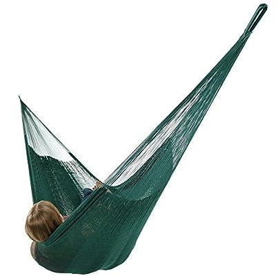 Sunnydaze Portable Mayan Hammock Hand-Woven, Family Size, 660 Pound Capacity, Green -  - patio-furniture, patio, hammocks - 41q3o9Q orL. SS400  -