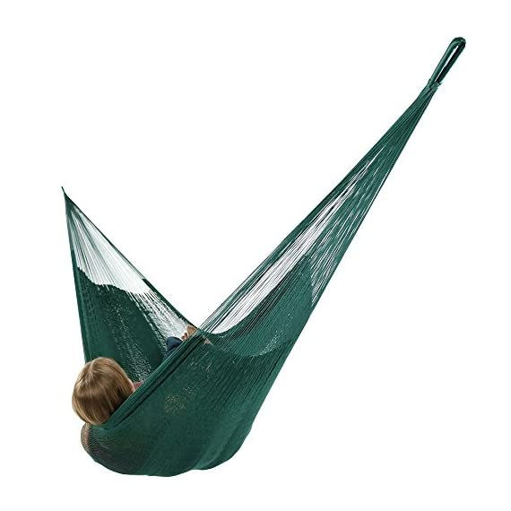 Sunnydaze Portable Mayan Hammock Hand-Woven, Family Size, 660 Pound Capacity, Green - Overall Dimensions: 157 inch long x 79 inch wide end-to-end. Bed size: 79 inch wide x 79 inch long. Weight capacity: 660 pounds. Made from 80% Cotton and 20% Nylon so it is soft and durable. Please note that colors may slightly vary on the hammocks due to each being specially hand-woven. - patio-furniture, patio, hammocks - 41q3o9Q orL. SS570  -