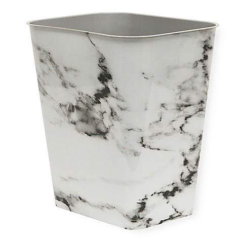 7-Gallon Plastic Rectangular Trash Can In Black Marble