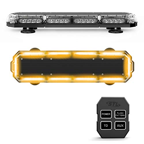 SpeedTech Lights Mini 21 120 Watts LED Strobe Lights for Trucks, Cars, Plows, and Emergency Vehicles with Magnetic Roof Mount in Amber/Amber (Yellow/Yellow)