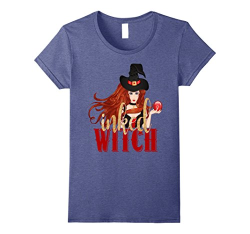 [Womens Sexy Inked Witch Halloween Shirt Red Gold Tattoo Ink Small Heather Blue] (Sexy Witch Tattoo)