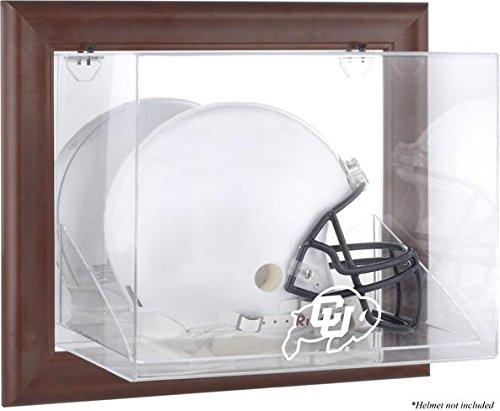 Colorado Buffaloes Brown Framed Wall-Mountable Helmet Display Case - Fanatics Authentic Certified - NCAA Football Helmet Logo Display Cases by Sports Memorabilia
