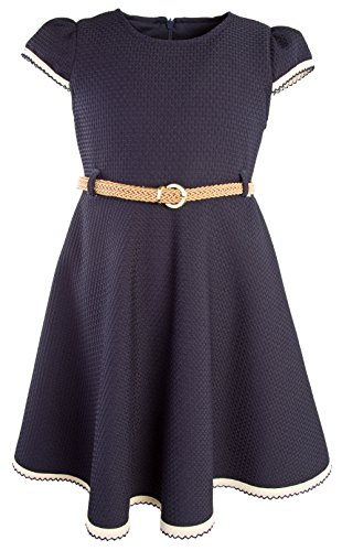 Lilax Little Girls' Textured Solid Flowing Dress with Belt 2T Navy