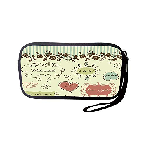 - iPrint Neoprene Wristlet Wallet Bag,Coin Pouch,Doodle,Vintage French Style Doodle Elegance Words Shabby Chic Classic Motif Decorative,Pale Green Chocolate Coral,for Women and Kids