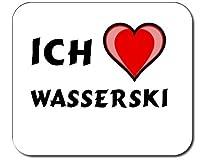 Mauspad mit Aufschrift Ich liebe Wasserski (Sport)
