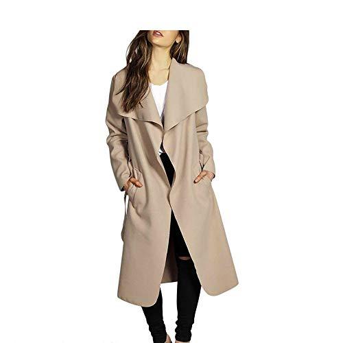 (MODOQO Women's Long Lapel Overcoat Wool Blend Jacket with Belt for Autumn Winter(Khaki ,XXL ))