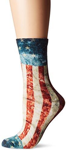 K. Bell Women's Single Pack Fashion Novelty Crew Socks, Americana, 9-11