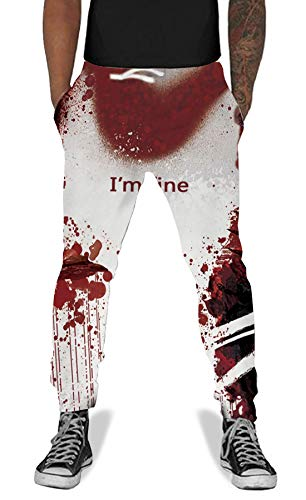 - UNIFACO Unisex 3D Print Blood I'm Fine Pattern Pants Elastic Drawstring Clothing Hip Hop Sweatpants Trousers