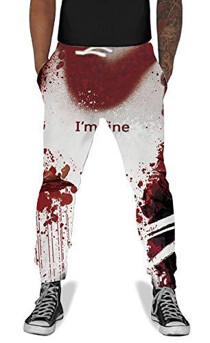 UNIFACO Unisex 3D Blood I am Fine Scare Pattern Sweatpants Theme Party Pants