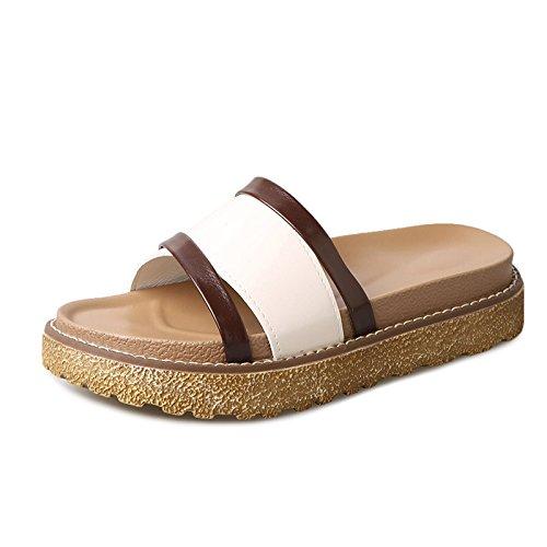 LIXIONG Portátil Verano Sandalias inferiores gruesas El ocio de moda El desgaste al aire libre una palabra arrastra los zapatos de la playa Con 4 cm de alto -Zapatos de moda ( Color : Blanco , Tamaño  Blanco