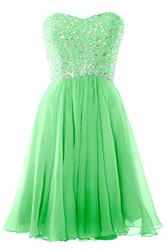 MACloth Women Strapless Crystals Chiffon Short Prom Dress Cocktail Formal  Gown Menta