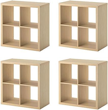 Kallax 4 x IKEA estantería, Efecto Abedul – 77 x 77 cm ...
