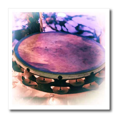 3dRose Susans Zoo Crew Music - Tambourine Vintage Style with Lights - 6x6 Iron on Heat Transfer for White Material (ht_294868_2) -