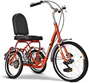 Tricycle for Adults with Basket, 3 Wheel Bikes Adult Seniors Cruiser Bike, Three-Wheeled Bicycles for Men Wome