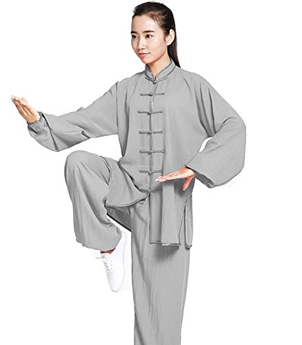 ZooBoo Unisex Womens Linen Kung Fu Tai Chi Uniform Martial Arts Wear (Gray, S)