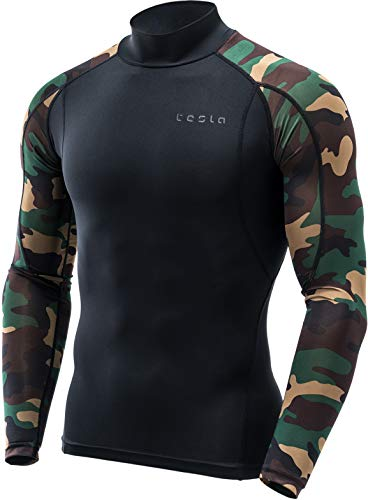 TSLA Men's Mock Long-Sleeved T-Shirt Cool Dry Compression Baselayer Top, Athletic(mut12) - Black & Camo Green, Medium ()